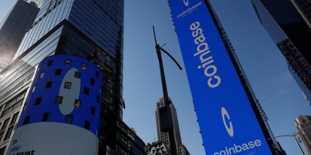 Here's how Coinbase stock performed on its first full day of trading