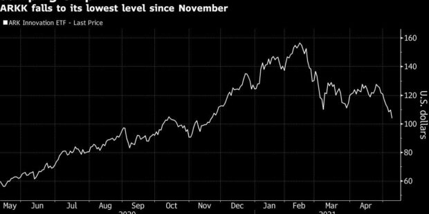 Cathie Wood's Ark ETF Sees 91% of Holdings Tumble in Tech Rout