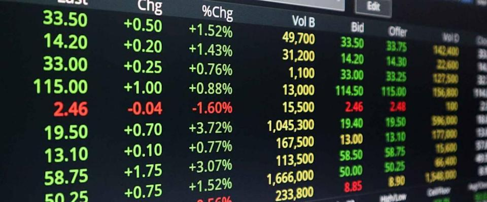 The stock market screen and graph of selling and buying