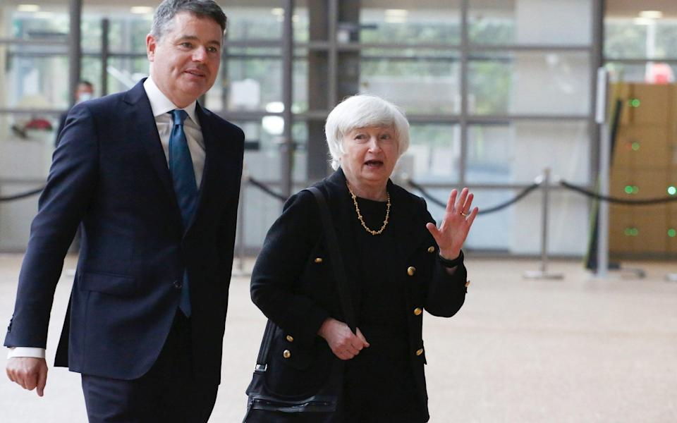 Janet Yellen, US Treasury secretary, right, and Paschal Donohoe, Ireland's finance minister at going to a Eurogroup meeting of EU finance ministers - Valeria Mongelli/Bloomberg