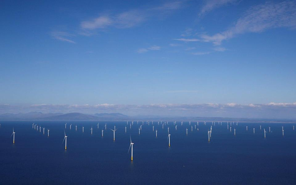 General view of the Walney Extension offshore wind farm operated by Orsted off the coast of Blackpool - Phil Noble/REUTERS