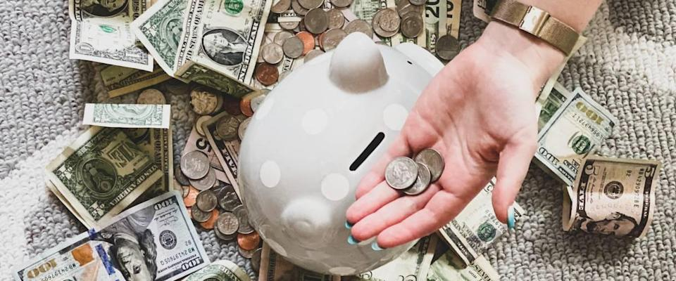 Piggy bank and US dollars